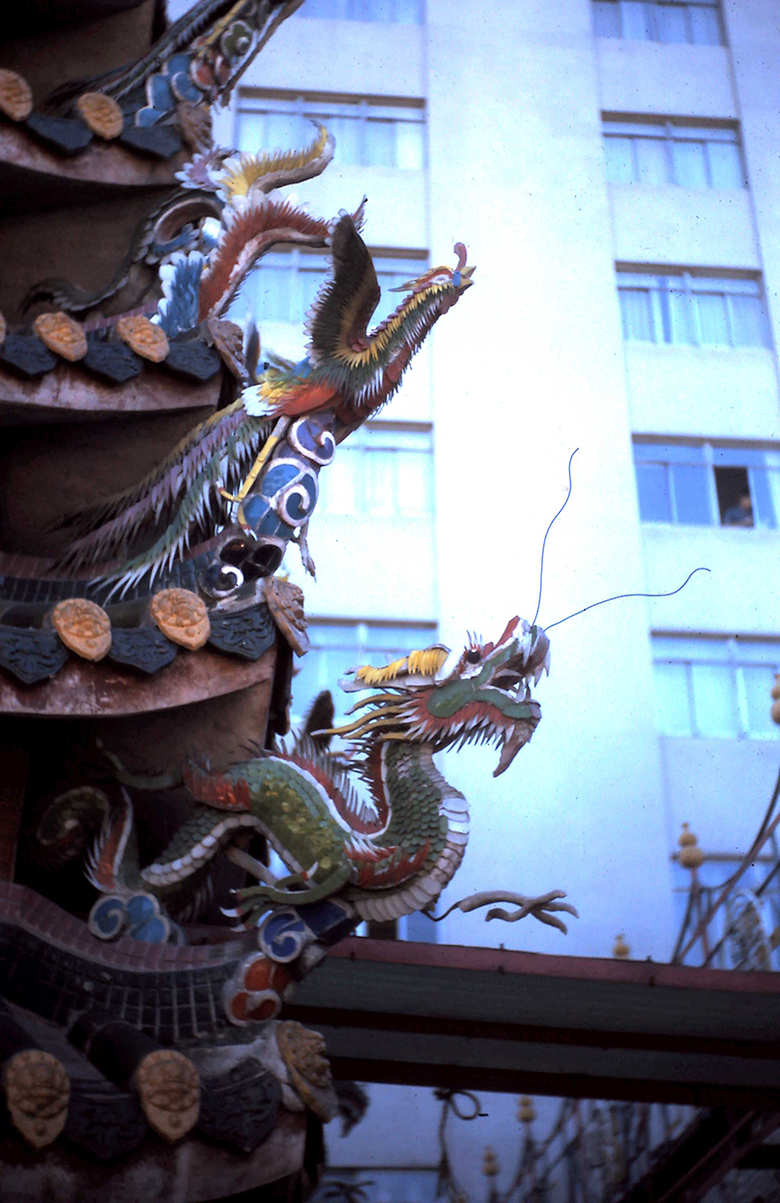 Detail of temple furnace near President Hotel in Taipei, 1972